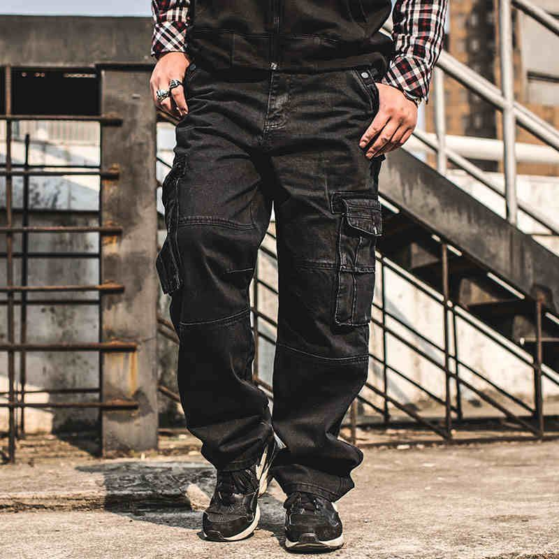 c6133404b78 Japan Style Plus Size Mens Denim Cargo Pants Jeans Men Baggy Loose Black  Jeans With Side Pockets Size 38 40 42 44 46-in Jeans from Men s Clothing ...