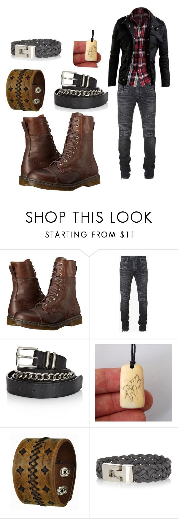 """""""Lovino Vargas"""" by ashe-hominem ❤ liked on Polyvore featuring Dr. Martens, Balmain, Twist & Tango, Nemesis and River Island"""