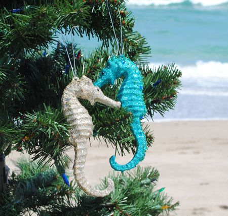 Glitter Seahorse Ornaments - Glitter Seahorse Ornaments Christmas Coastal Christmas