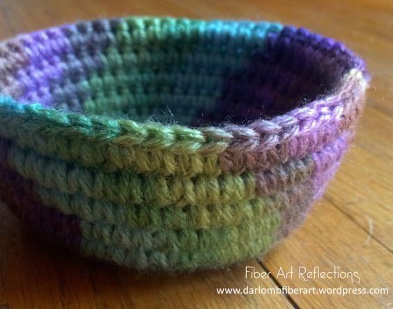 Small Crochet Coiled Basket Photo Tutorial Fiber Art Cord And Crochet