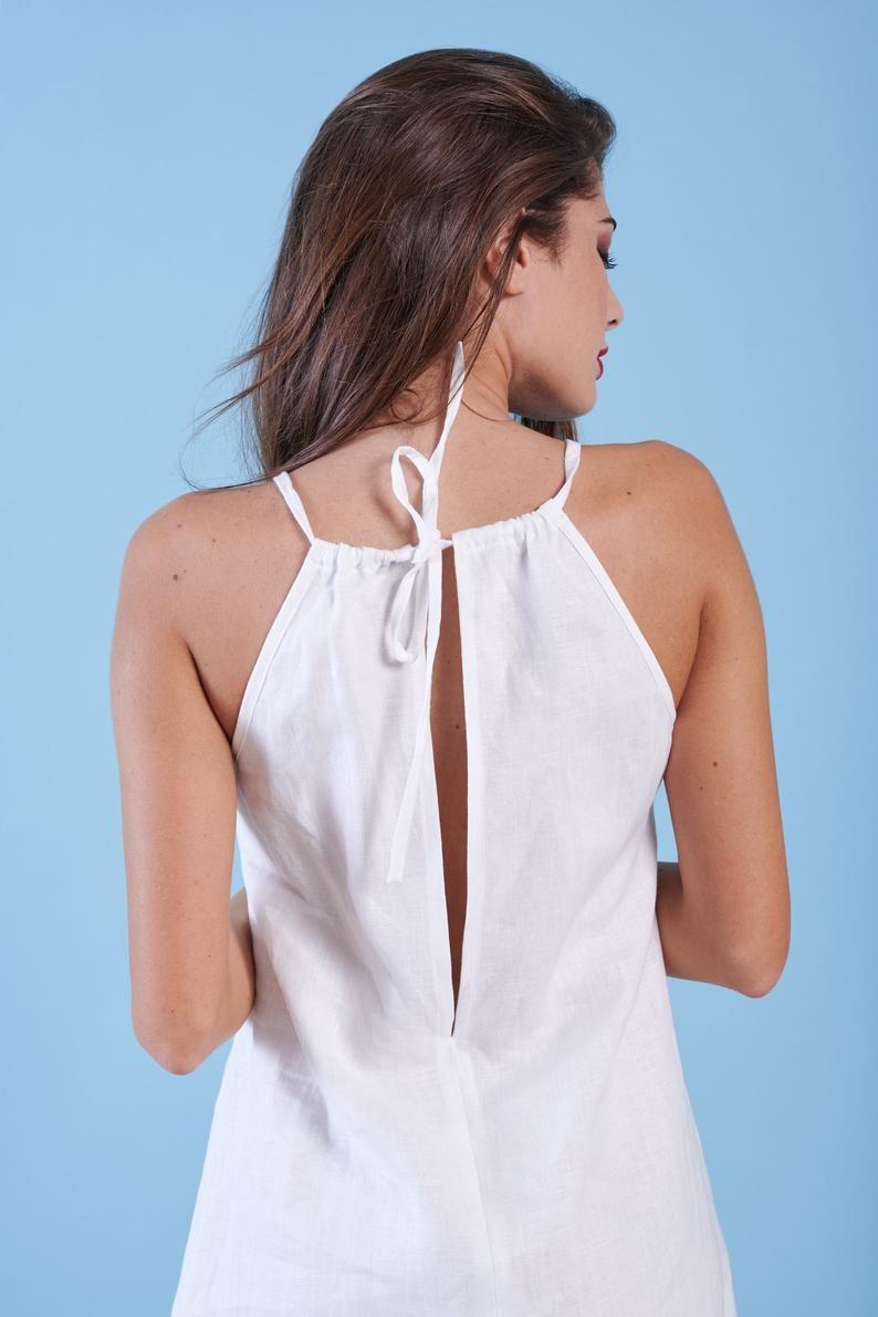 White Linen Dress Boho Midi Bridal Dress Beach Wedding Etsy White Linen Dresses Linen Loose Dress Linen Tunic Dress [ 1191 x 794 Pixel ]