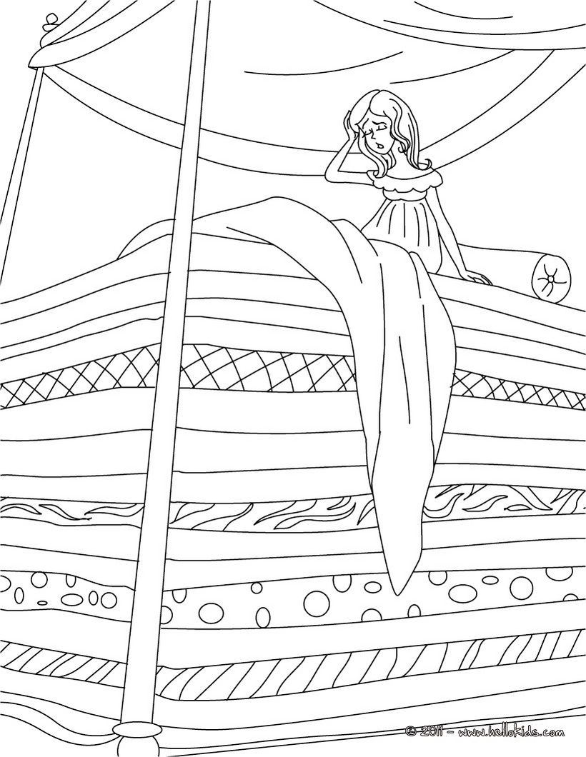 Andersen Fairy Tales Coloring Pages The Princess And The Pea Ausmalen Malvorlage Prinzessin Prinzessin Auf Der Erbse