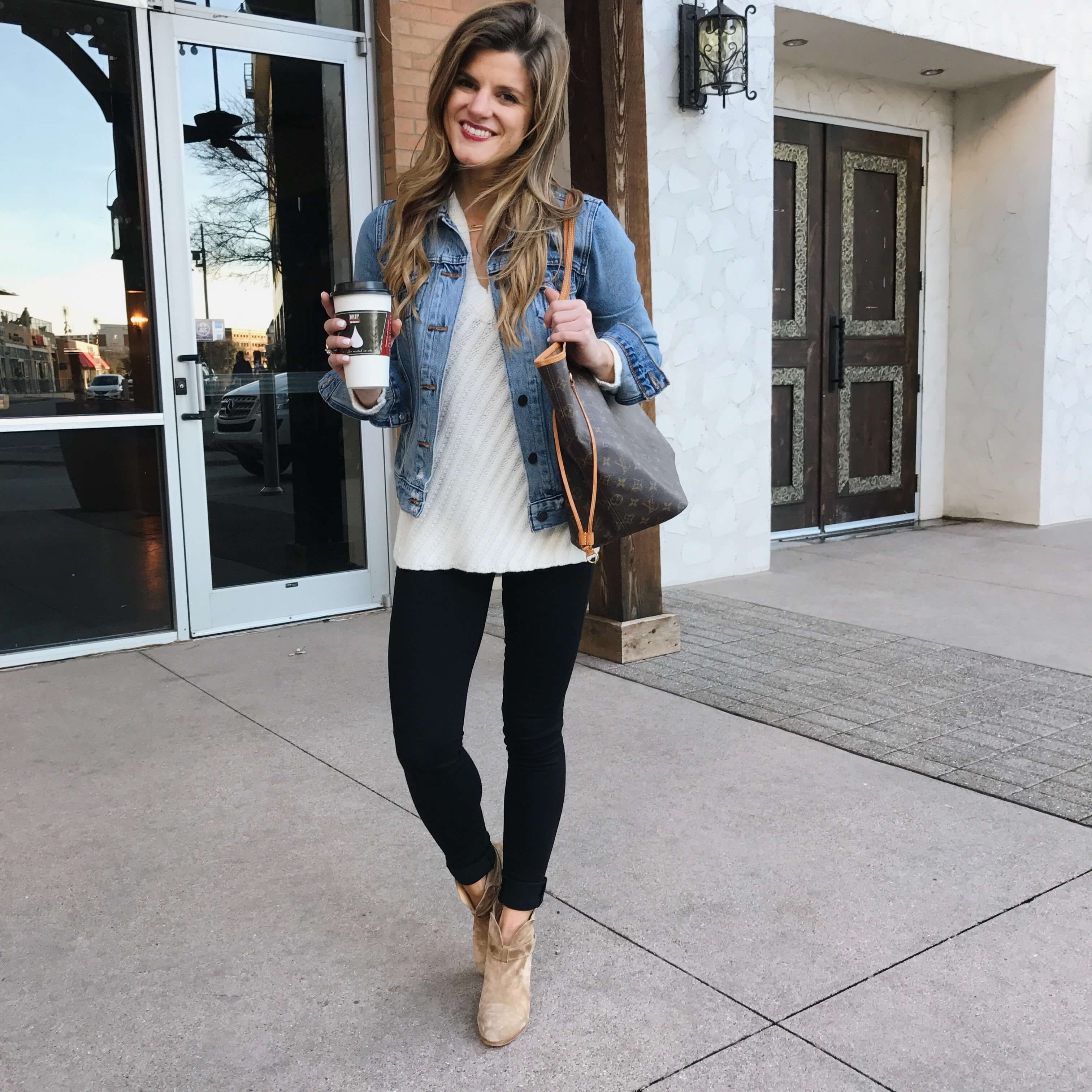 69c83cad8a how to wear black jeans black jeans outfit with cream sweater