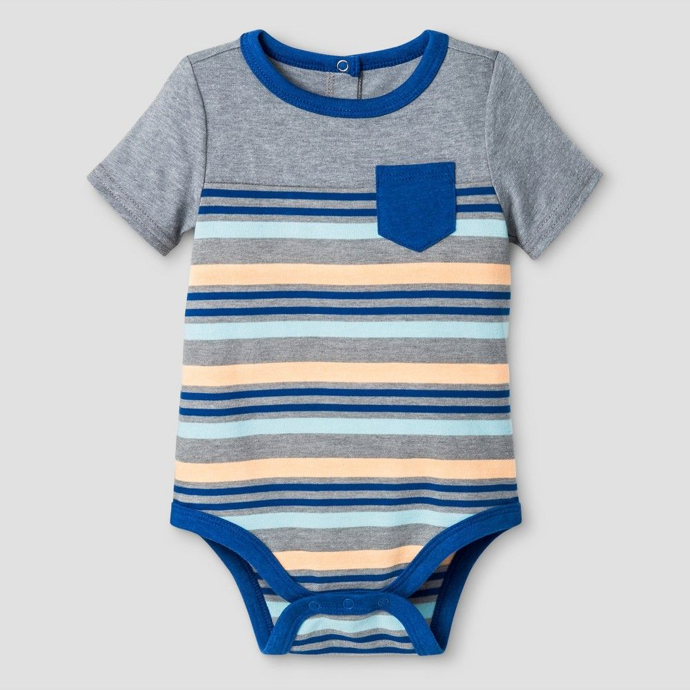 61403703ece57 Baby Boys  Striped Bodysuit Cat   Jack - Gray 18 Months