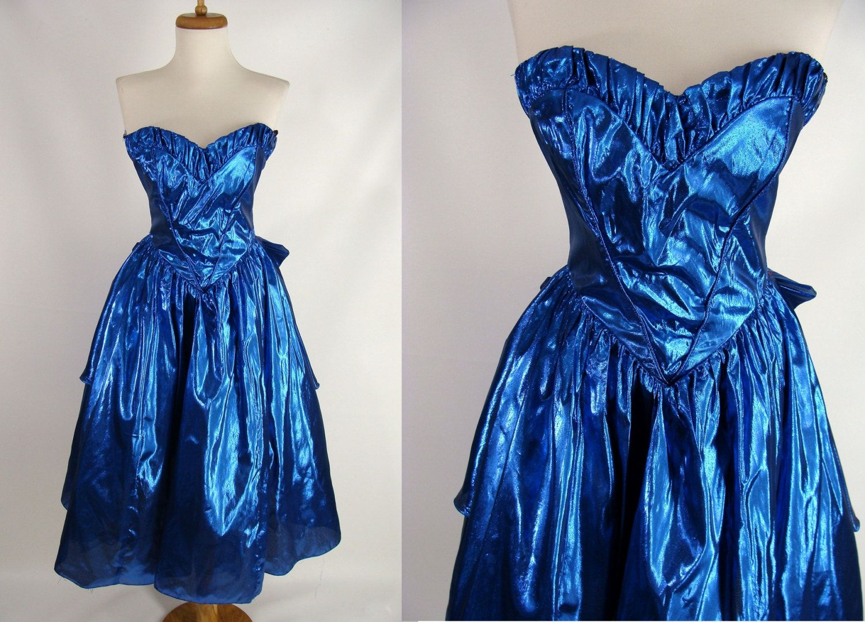 Vintage s prom dress cyndi lauper costume metallic sapphire blue