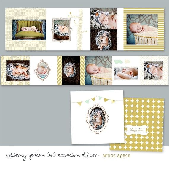 Whimsy Garden 3x3 Accordion Album Whcc by SnapBoutique on