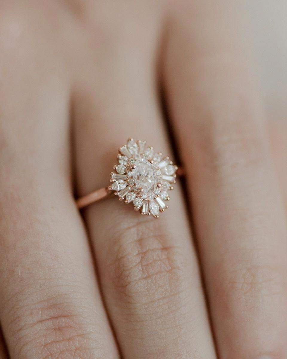 Unique Moissanite Engagement Ring 14K Two Tone Gold Bridal Ring Flower Moissanite Engagement Ring – Fine Jewelry Ideas