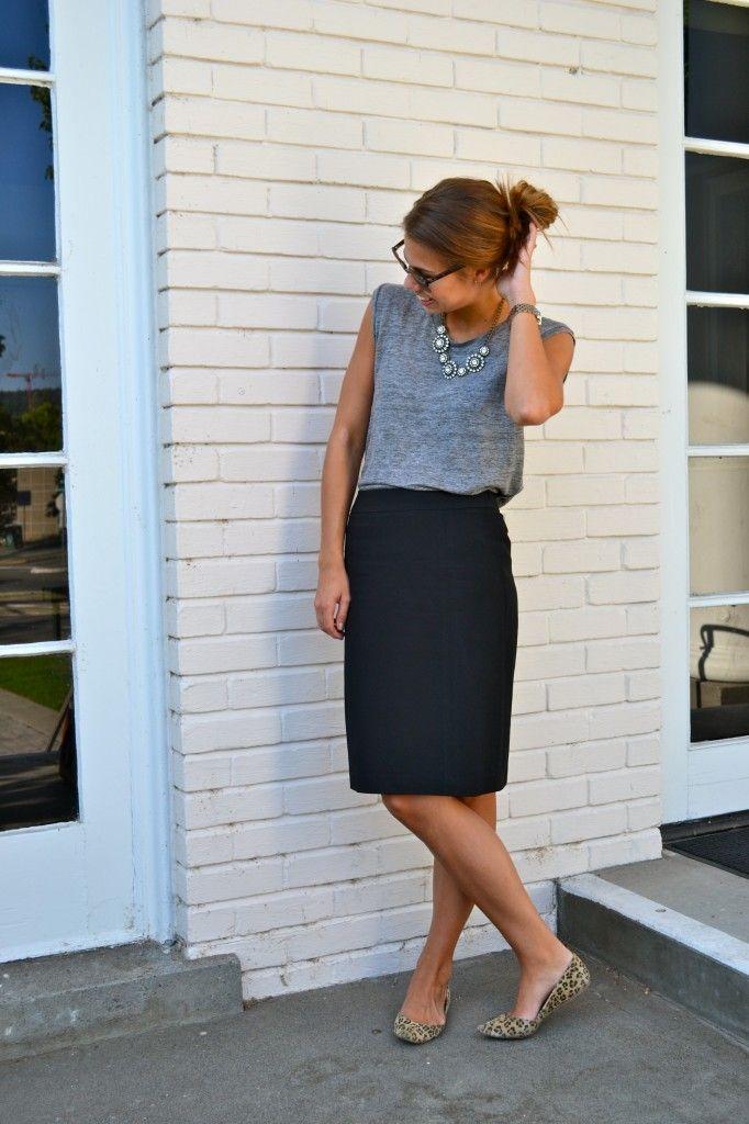 pencil skirt, grey tee