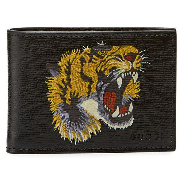 bc1346873116 Gucci Bestiary Embroidered Tiger Face Leather Wallet ($350) ❤ liked on  Polyvore featuring men's fashion, men's bags, men's wallets, black, mens  leather ...
