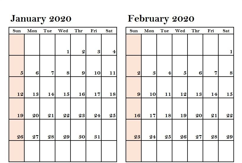 2 Month Calendar 2020 Two Month January February 2020 Calendar | 2020 Calendars