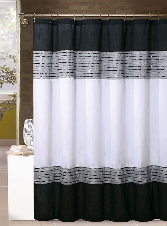 White Black And Silver Gray Shower Curtain Sequins 72in X