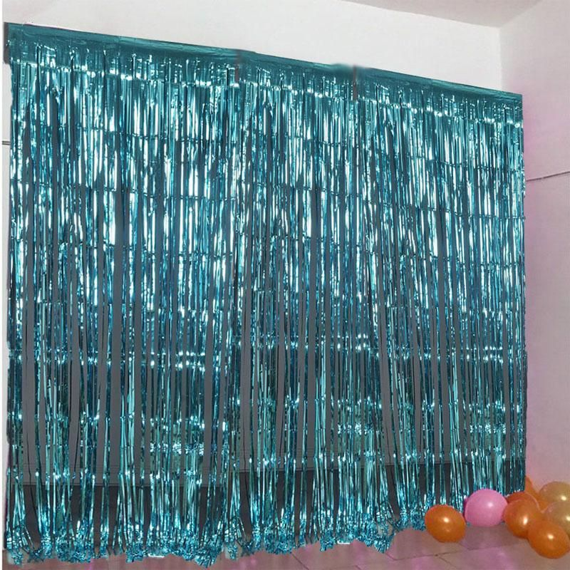 Sparkling Metallic Foil Fringe Curtain 3ft X 8ft Turquoise