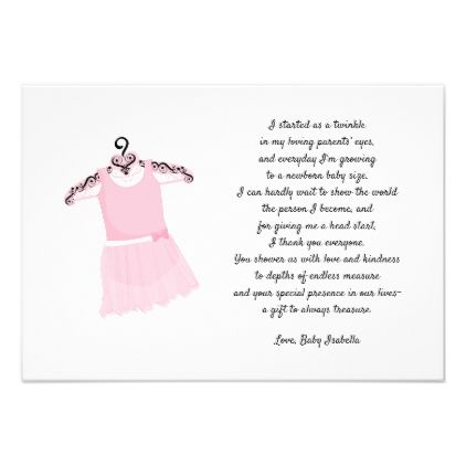 ballet dress baby shower thank you note invitation birthday cards