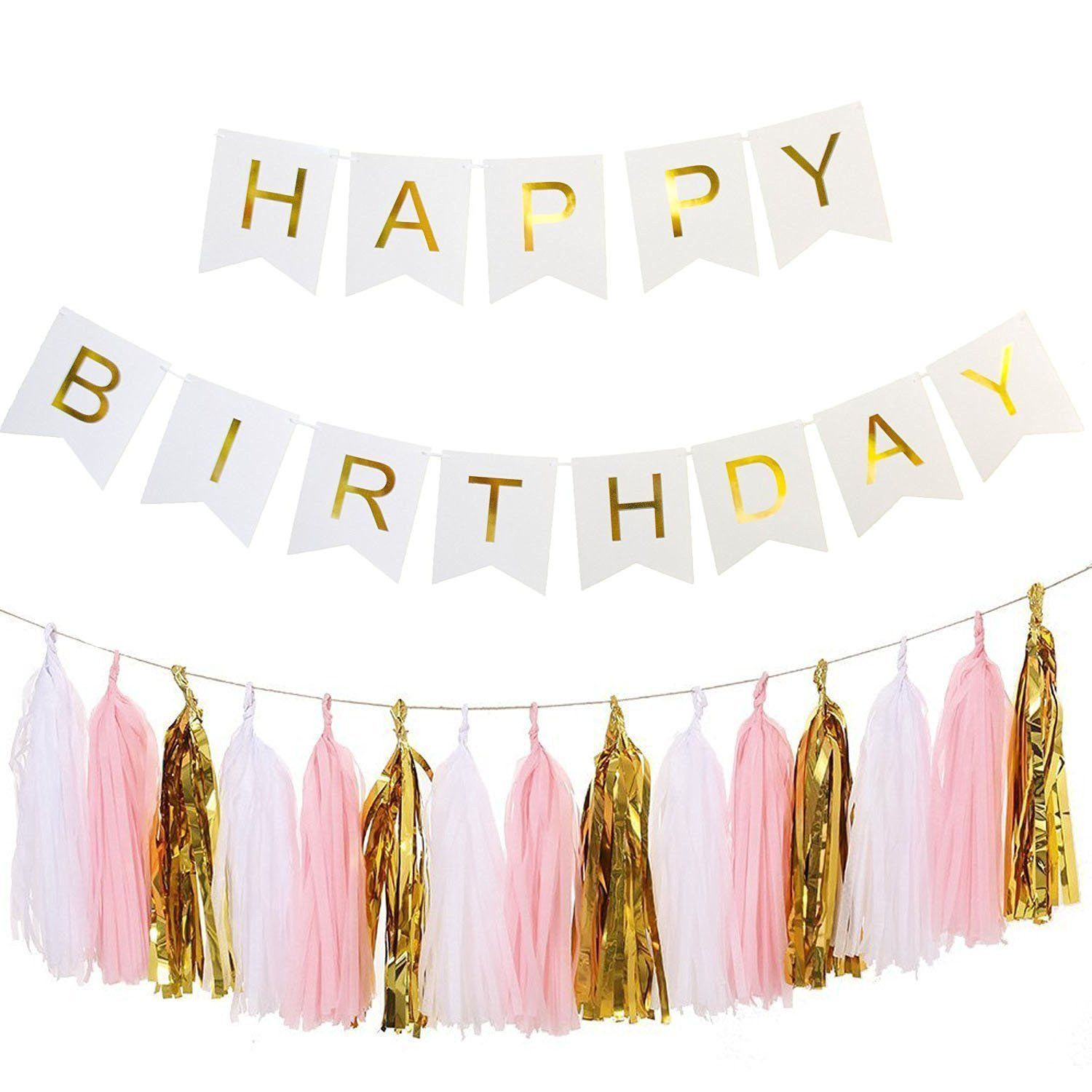 Ailiebhaus Happy Birthday Deko-Set Flaggenkette Banner,mit Quaste Girlande DIY Tassels(Gold ...