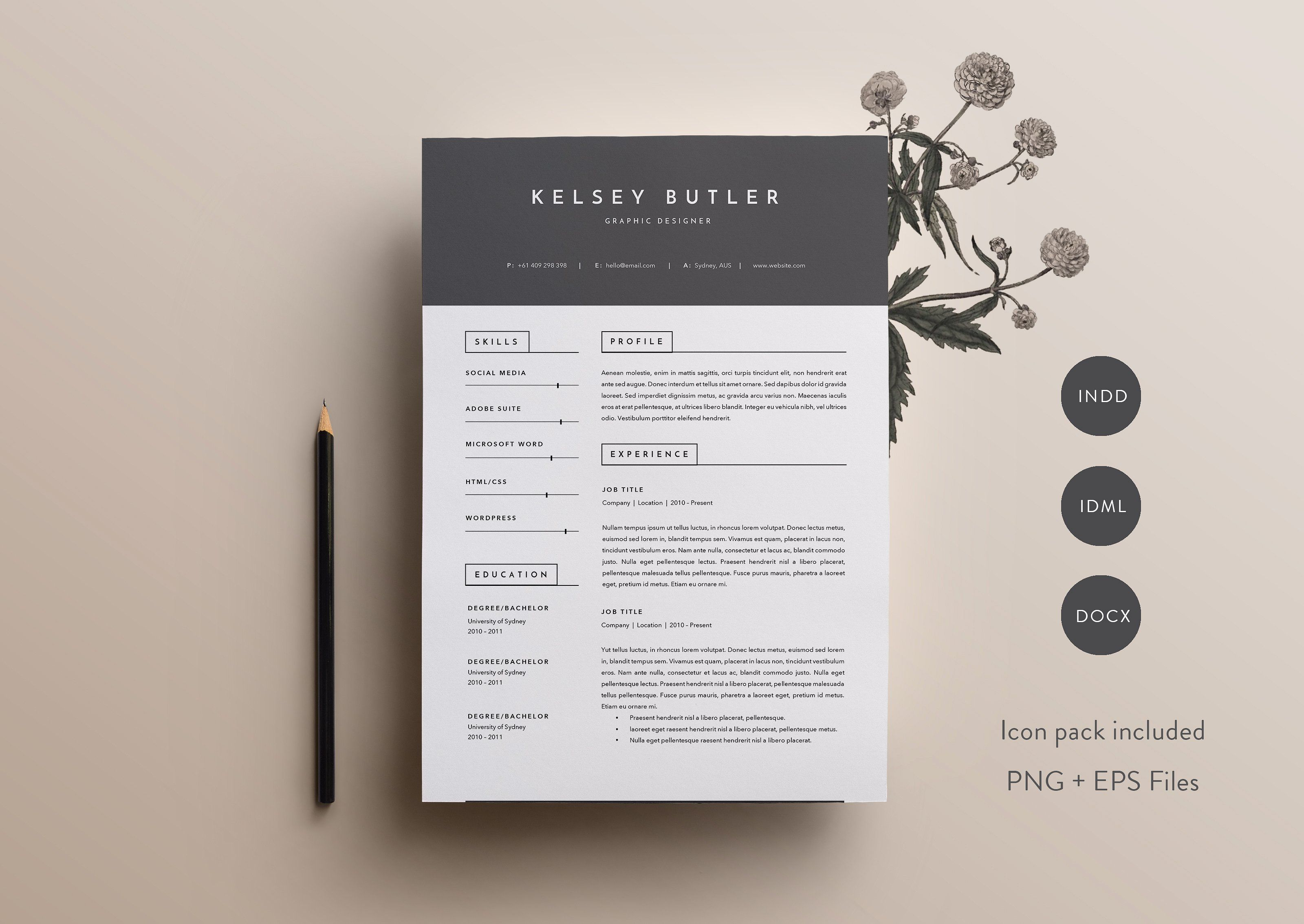 3 Page Resume Template | INDD + DOCX By Basic Creations On @creativemarket  Professional,  3 Page Resume