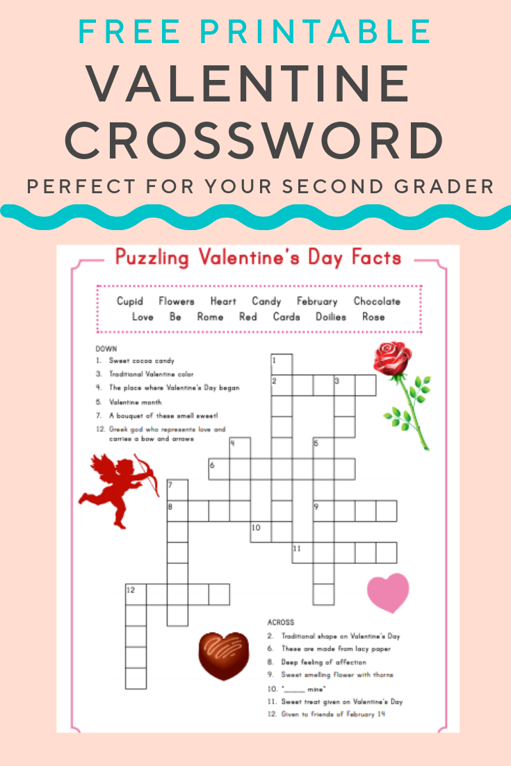 graphic relating to Valentine Crossword Puzzles Printable called Valentine Crossword Essential Things to do and Components