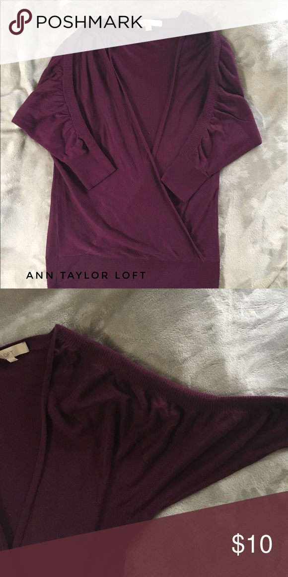 🛍BOGO half-off!!🛍 Lightweight material in a beautiful plum color. 3/4 length dolman sleeves with rouching. Can be dressed up or down. Has some light pilling due to wear but could be removed🛍 buy one item at regular price get a second item of equal or lesser value half off!! Just make a bundle, press the offer button and send me your offer!!⭐️ LOFT Sweaters V-Necks
