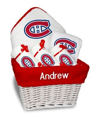 Our Personalized Montreal Canadiens Medium Gift Basket is a perfect baby gift with 3 burp cloths a bib and a towel personalized with the Canadiens logo.