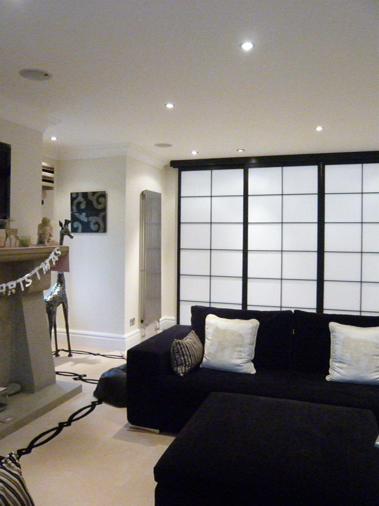 Black painted sliding room dividing shoji screens by