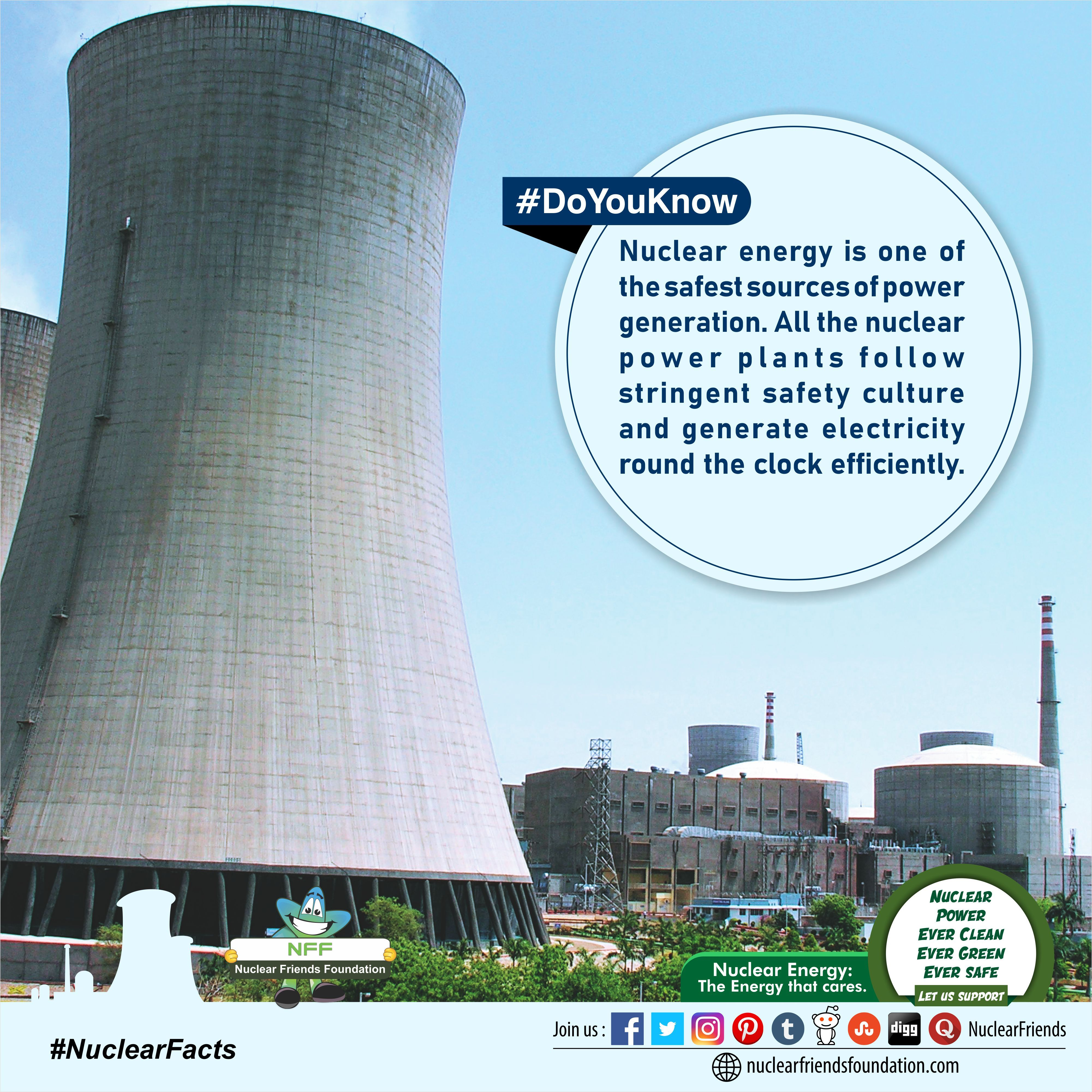 Doyouknow Nuclear Energy Is One Of The Safest Sources Of Power Generation All The Nuclear Power Plants Follow Stringent Safety Culture And Generate Electricit