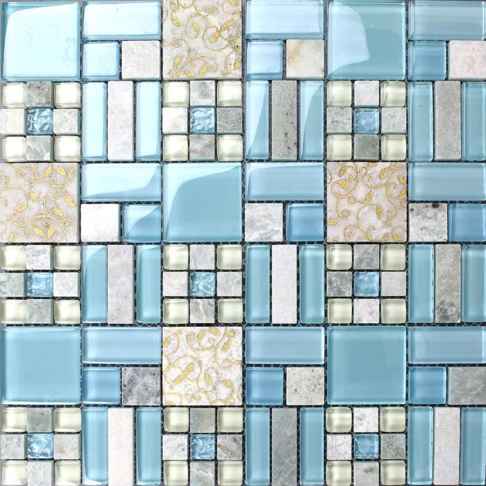 Blue Mosaic Tile Backsplash