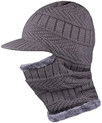 4cb8d5a215b WDSKY Knit Thick Motorcycle Face Cover Ski Mask Beanie With Visor Balaclava  for Adult Review