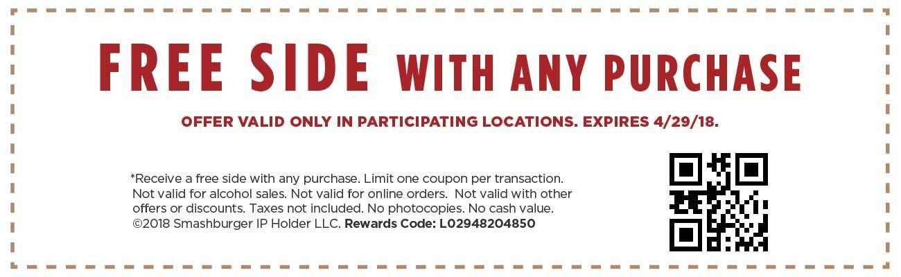 picture regarding Smashburger Printable Coupon known as Smashburger Coupon: Cost-free Facet with Any Invest in Printable