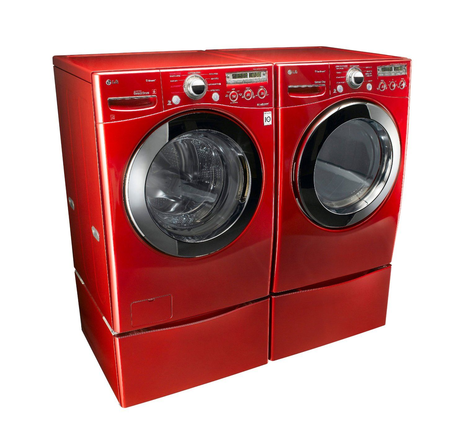Lg Wild Cherry Red Steam Laundry Pair With Matching Pedestals And Electric Dryer Wm2650hra Dlex2650r Wd Lg Washer And Dryer Laundry Pedestal Steam Laundry