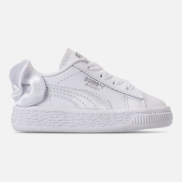 Right view of Girls  Toddler Puma Basket Bow Casual Shoes in White 47547e9b9