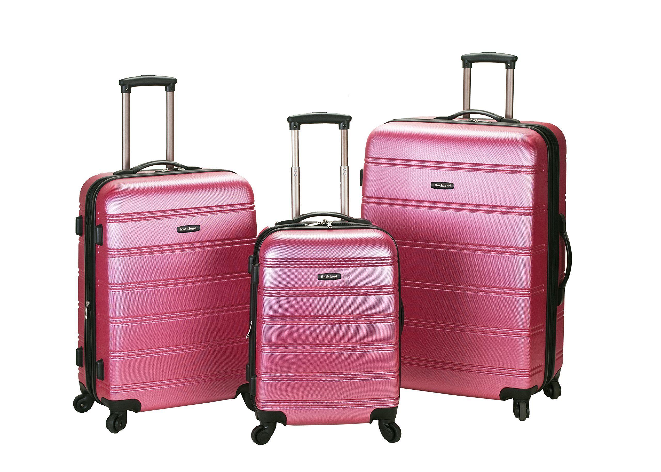 Rockland Luggage Melbourne 3 Piece Abs Luggage Set, Pink, Medium ...