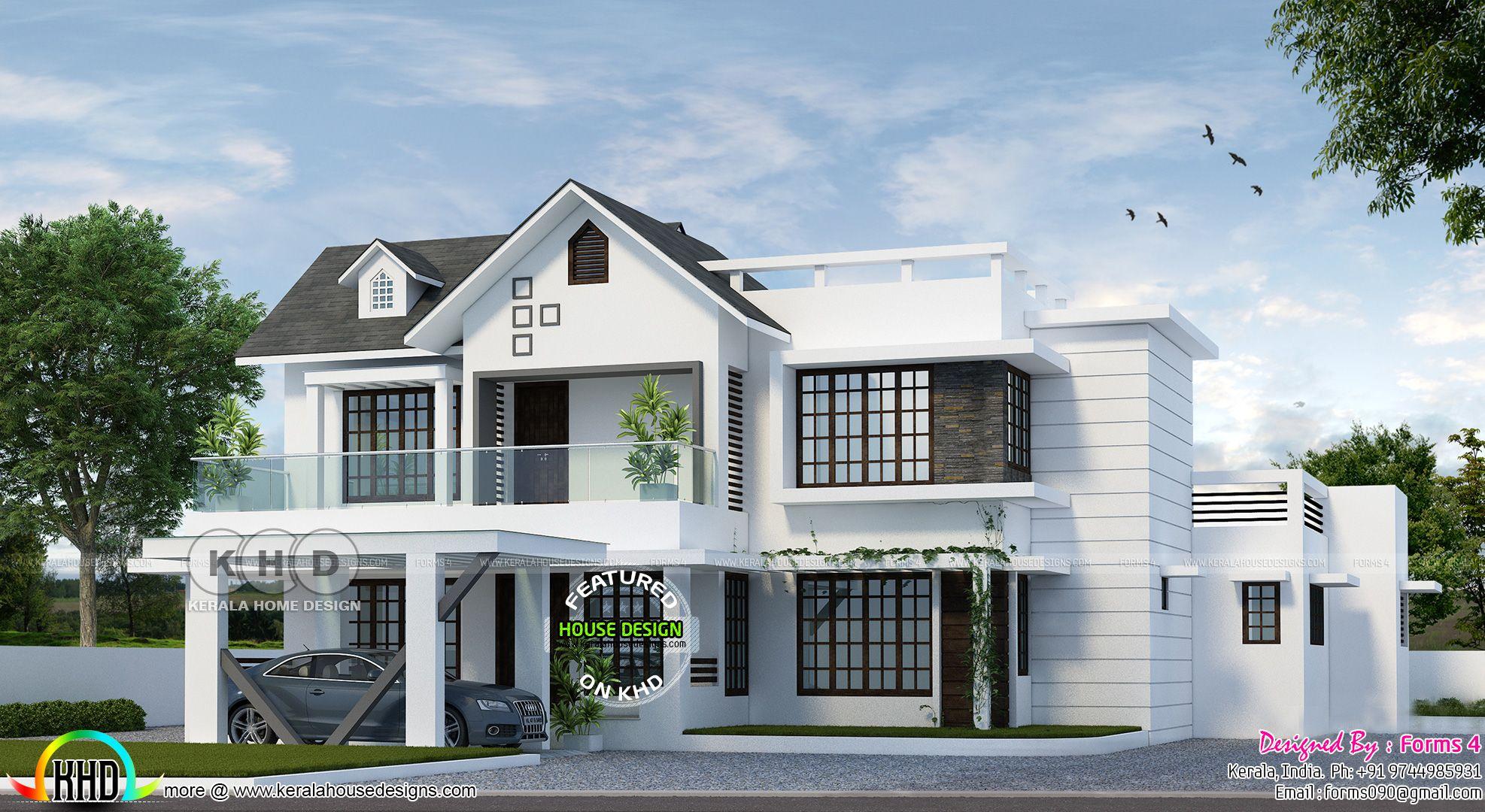 4 Bed Room 1900 Sq Ft Budget Oriented Compact Design Unique House Plans Architectural House Plans Unique House Design