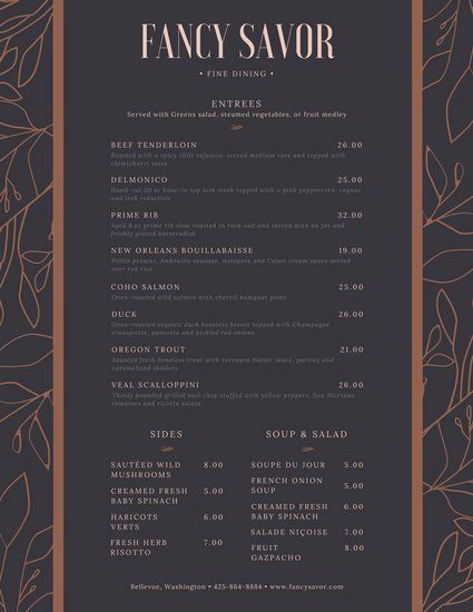 fancy dinner menu template - dark elegant patterned fancy menu restaurant graphics