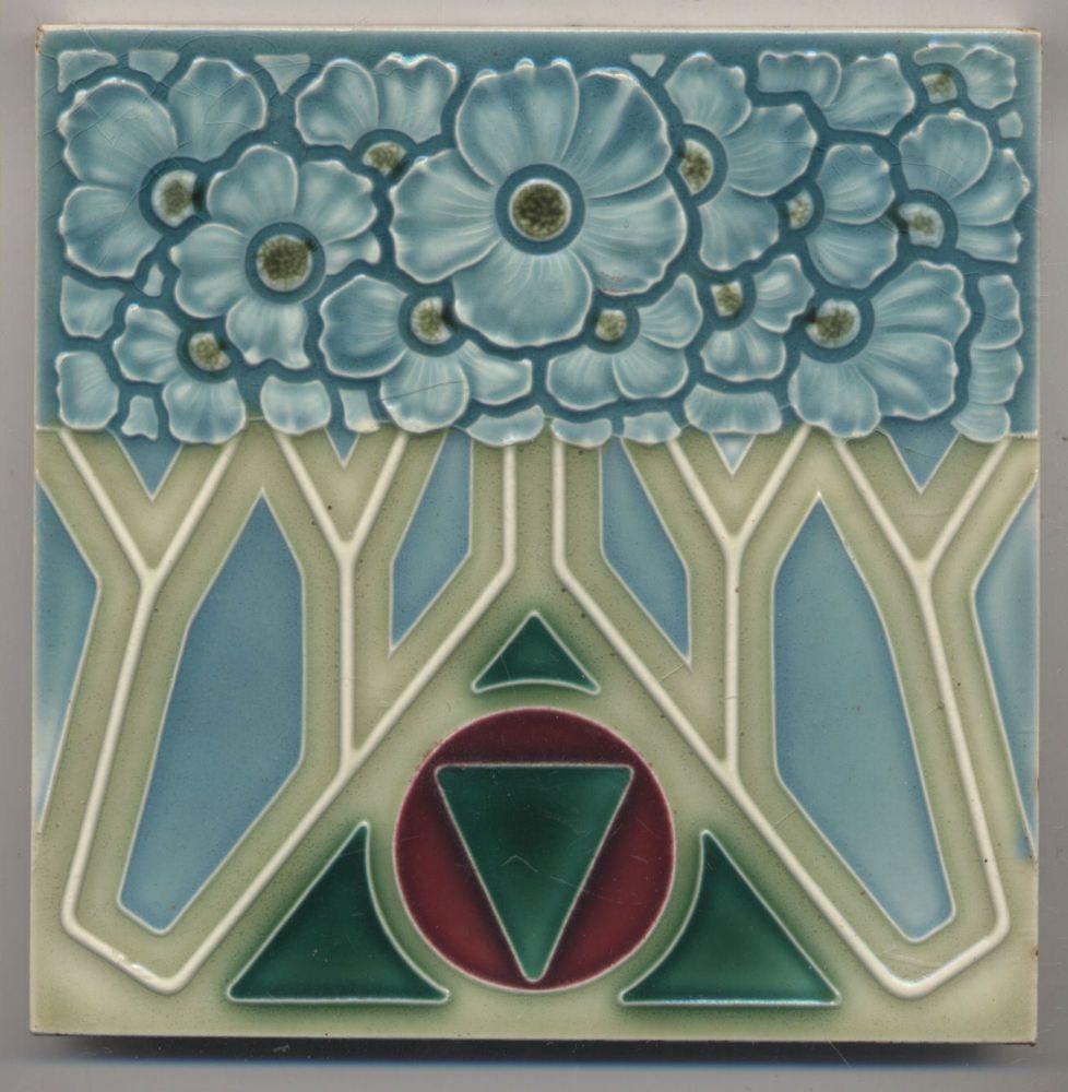 Super rare nstg art deco blumen jugendstil fliese art nouveau tile art - Art deco fliesen ...