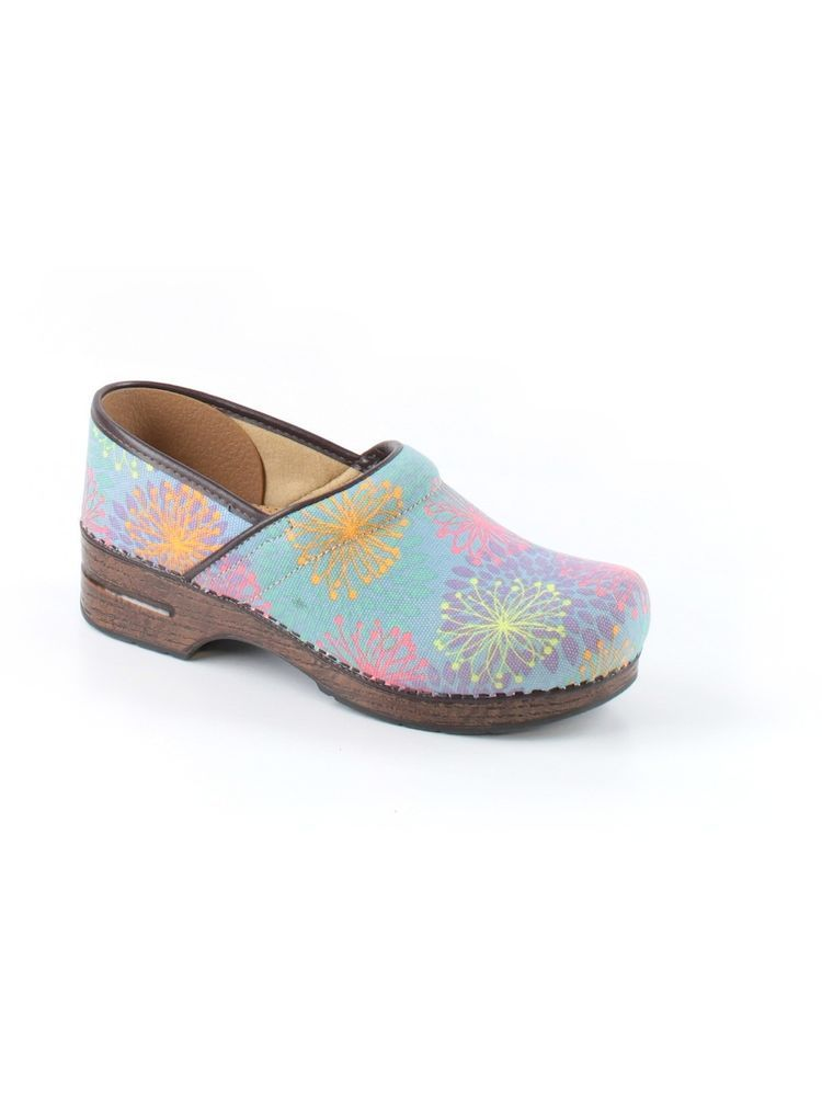 Women Ladies Dansko Vegan Blue Flower Floral Clog Shoe Size Eur 42 11.5 12 #dansko #clogs