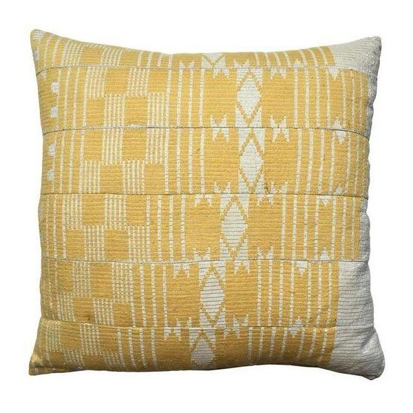Vintage Yellow Aso Oke Pillow (£150) ❤ liked on Polyvore featuring home, home decor, throw pillows, pillows, vintage home accessories, yellow home decor, yellow accent pillows, vintage home decor and yellow throw pillows