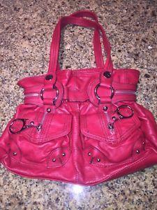 ccddaa2f59 Kathy Van Zeeland Red Pebble Faux Leather Satchel Shopper Hobo Purse ...