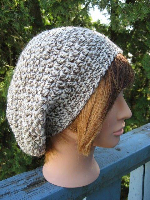 Tangerine crochet hat beret in blossom stitch wool slouchy hat beret