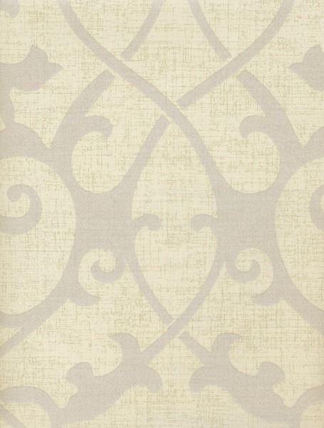 Shiny Silver Damask Scroll on Beige Wallpaper