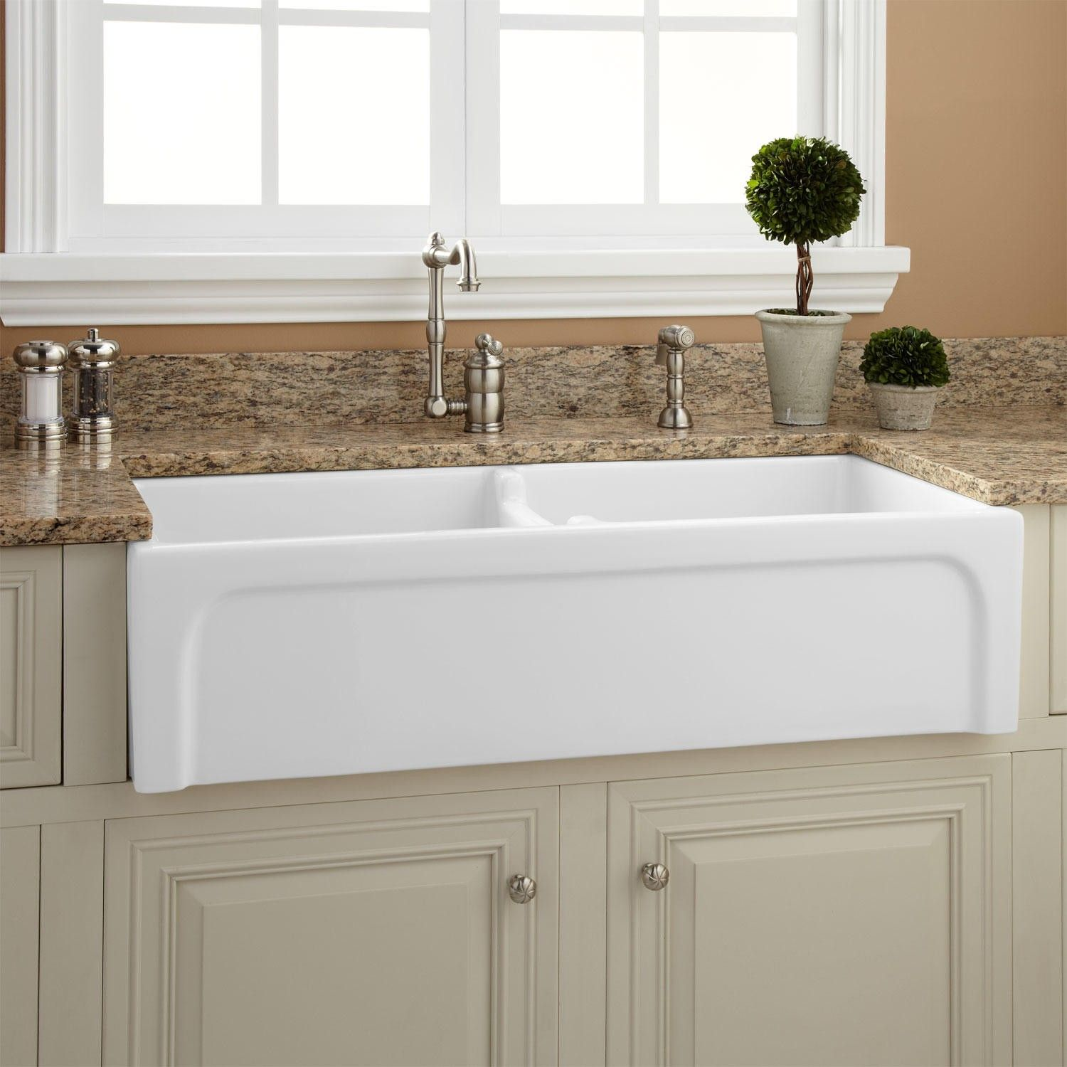 39 Risinger Double Bowl Fireclay Farmhouse Sink Cat Front White