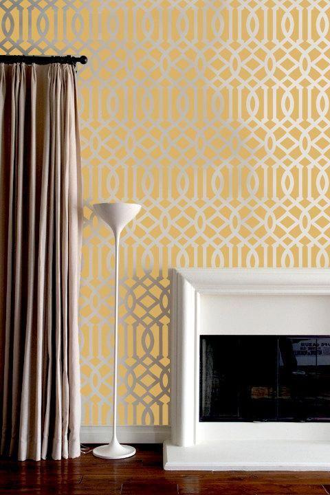 Art/Wall Decor - Wall Stencil Lattice Trellis Allower Pattern Wall ...