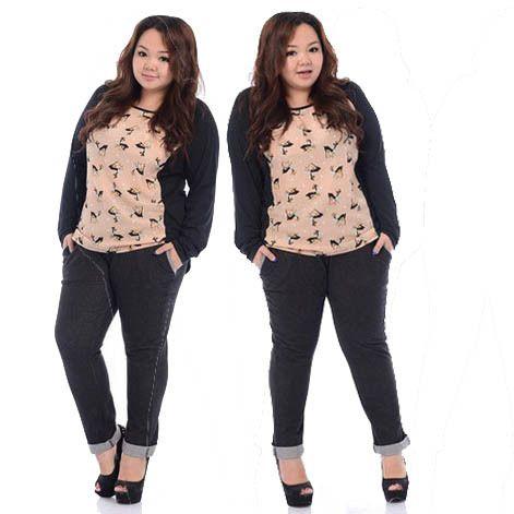 b792601e Patch Print Plus Size Fat Women Blouse 2014 Korean OL Ladies Fashion ...