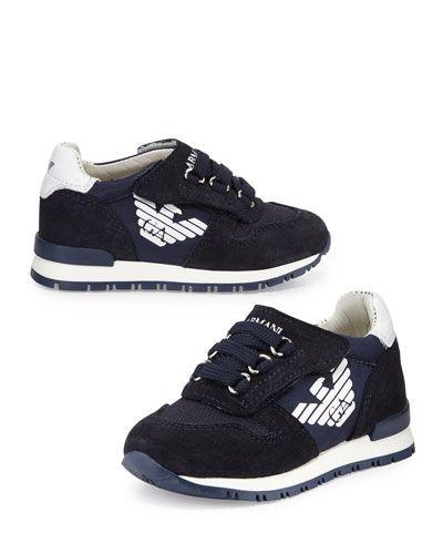 0481aa68c01fb Z1MBU Armani Junior Leather-Trim Grip-Strap Sneaker