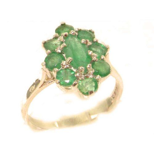 Luxury Ladies Solid British Rose 9K Gold Natural Emerald Cluster Ring - Finger Sizes 5 to 12 Available