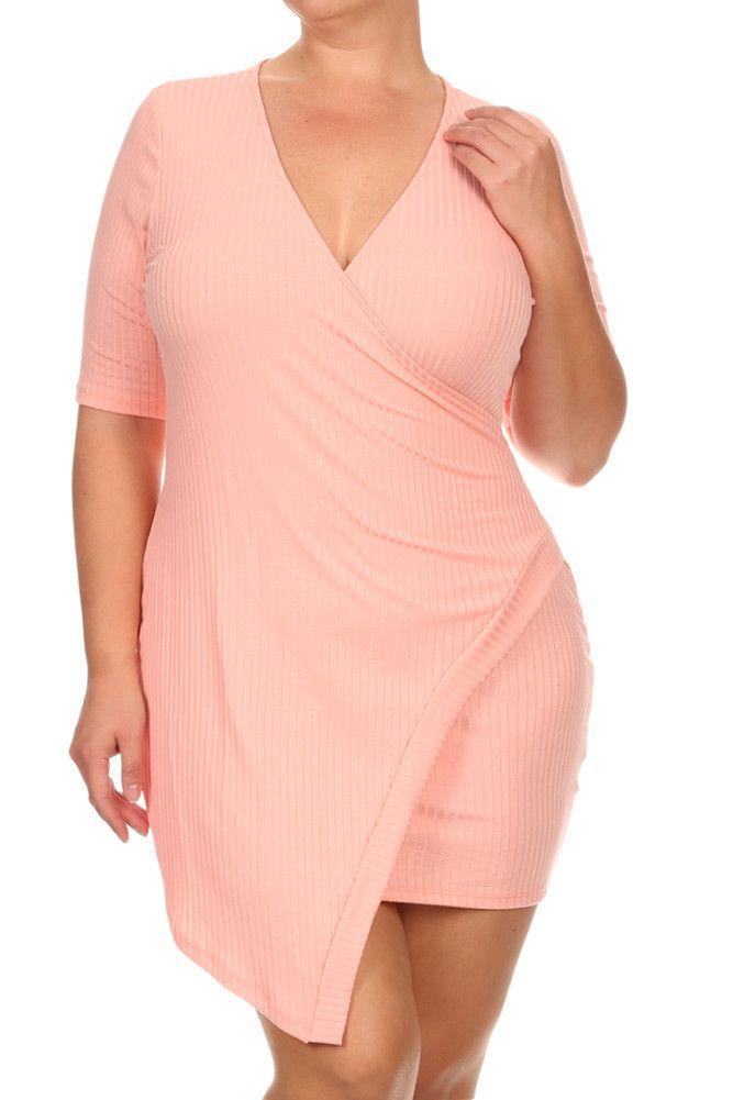 73c005535d Plus Size Wrap Around Surplice Ribbed Dress – PLUSSIZEFIX
