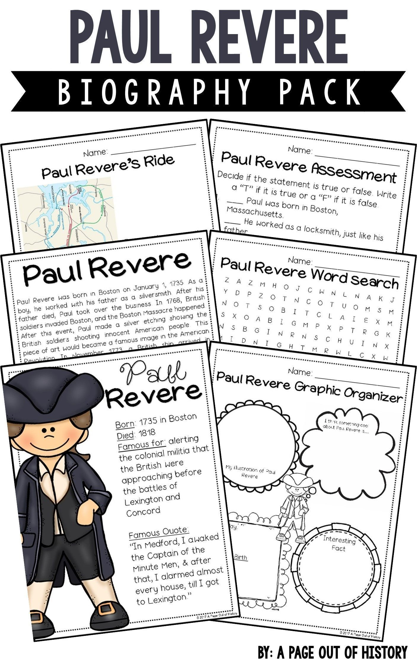 Paul Revere Biography Pack Revolutionary Americans A Page Out Of History Paul Revere Activities Paul Revere Nonfiction Passages