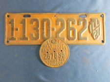 VTG 1927 Illinois License Plate with Chicago Vehicle Tax Tag, Orange and Black.