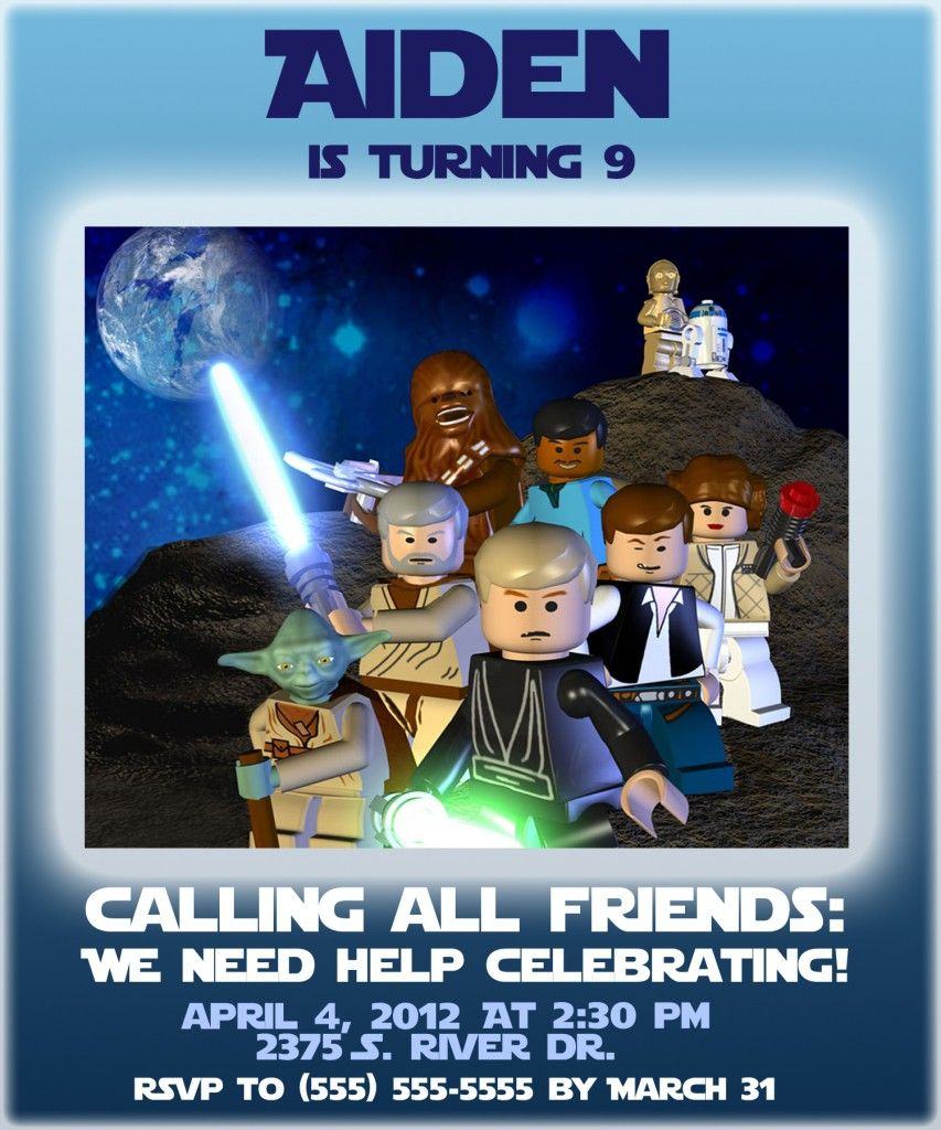 Free Lego Star Wars Party Invites Templates 4 | Birthday | Pinterest ...