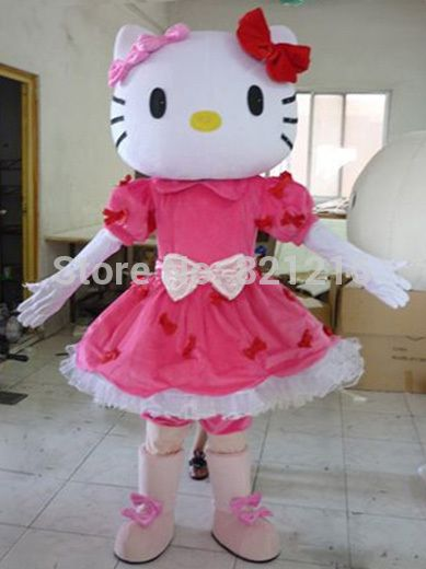 hot!Miss Hello Kitty Mascot Costume Adult Size Hello Kitty Mascot Costume+Free shipping