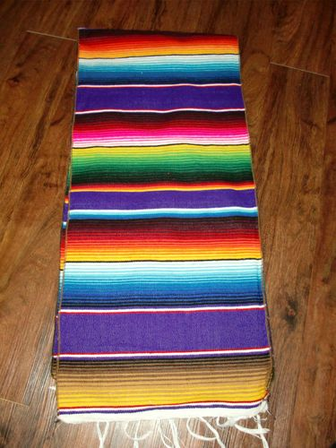 New Native Southwestern Mexican Serape Blanket Western Table Runner 15x69 Multi1