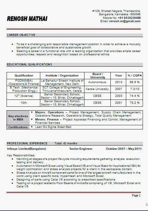 Curriculum Vitae Format In Word Beautiful Excellent Professional   Project  Management Career Objective  Project Management Career Objective
